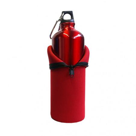 Hosa Aluminio Mosquetón 1 Litro funda neopreno roja - Botella cantimplora