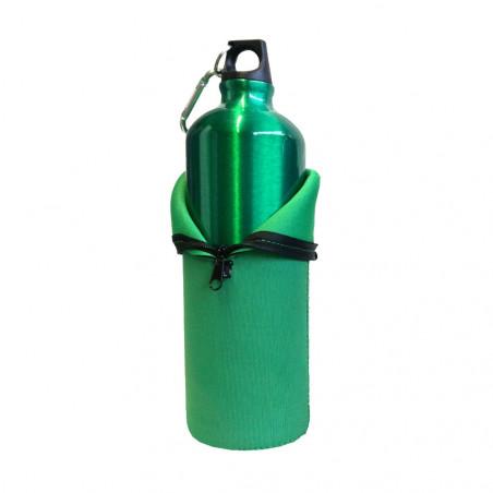 Hosa Aluminio Mosquetón 1 Litro funda neopreno verde - Botella cantimplora