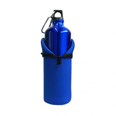 Hosa Aluminio Mosquetón 1 Litro funda neopreno azul - Botella cantimplora
