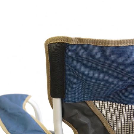 Silla plegable alta HOSA LUXE CHAIR XL 98 CM con reposabrazos - azul y gris