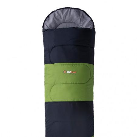 Saco de dormir alpino OZtrail KENNEDY HOODED +13º– verde y gris