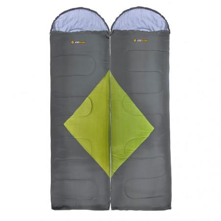 Pack 2 sacos de dormir alpinos OZtrail BASS TWIN PACK – verde y gris