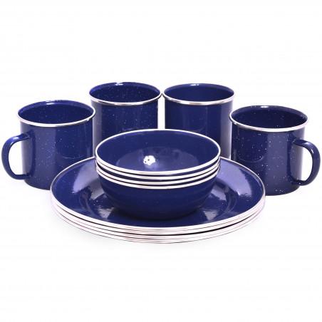 Set vajilla completa esmaltada OZtrail ENAMEL DINNER SET para 4 personas – azul