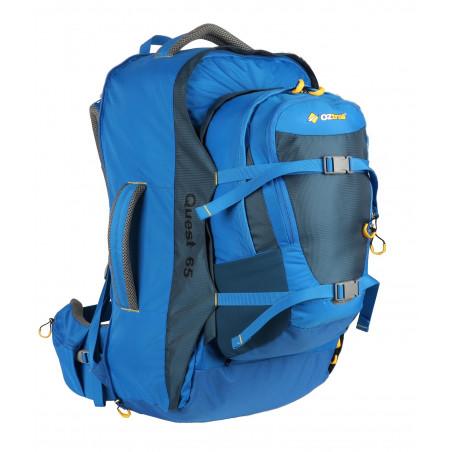 Mochila de viaje OZtrail QUEST TRAVEL PACK 65L con Daypack de 10L – azul
