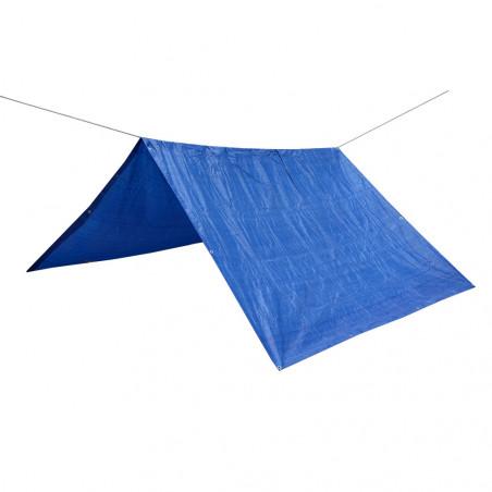 Toldo lona impermeable REFUGIO RAFIA 3,6 X 5,4 con cuerda nylon de 20 m - azul