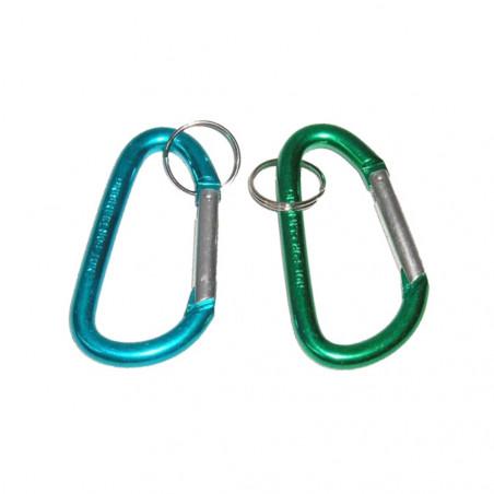 Pack 2 MOSQUETONES 6 CM - azul y verde