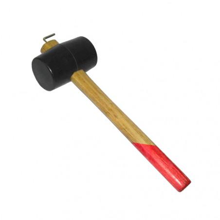 Características del Mazo de goma Hosa TOMAHAWK con extractor de piquetas: Mazo con mango de madera y franja roja, y cabeza de go