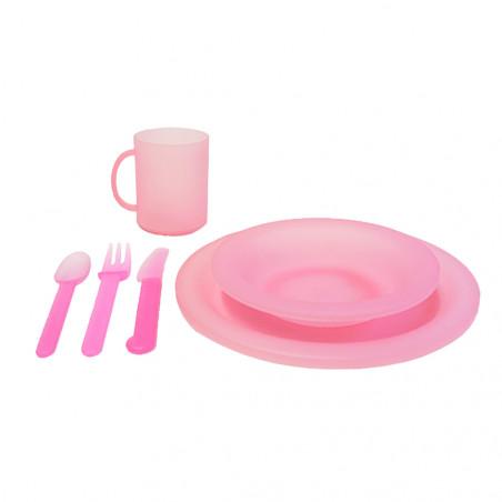 Vajilla de plástico Rockwest VAJILLA COMPLETA COLONIAS – rosa